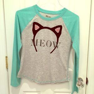 Girls long sleeve meow shirt w rhinestones sz XL